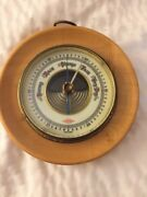 Vintage Atco Round Barometer Wood And Brass Porcelain Face Germany