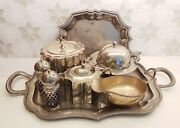 Silver Table Set Butter Dish, Sandp Shakers, Caddy, Milk Jug, Sauce Boat And2 Trays