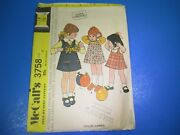 Vintage Sewing Pattern Kit Mccall's 3758 Child's And Girl's Jumper Size 6 S7299