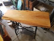 Antique Treadle Sewing Machine Base With Slab Wood Table Top
