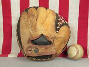 Vintage 1940s Leather Baseball Glove Catchers Mitt Full Laced Web Great Display