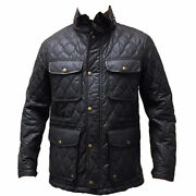 Coach 83740 Menand039s Waxed Quilted Wyatt Field Jacket Utility Coat Dark Brown