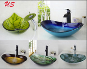 Us Washbasin Tempered Glass Vessel Sink Bathroom With Brass Waterfall Faucet Set