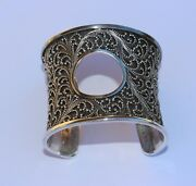 Lois Hill Wide Ornate Sterling Silver Cuff Bracelet With Open Circle Front Rare