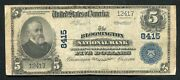 1902 5 The Bloomington National Bank Of Indiana National Currency Ch. 8415