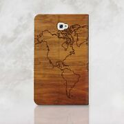 Wooden Samsung Galaxy Tablet A 7 9.7 10.1 Wallet Case World Map Tab S2 S3 Cover