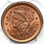 1855 N-4 Pcgs Ms 64 Rd Upright 55 Braided Hair Large Cent Coin 1c