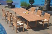 Dslv A-grade Teak 7pc Dining Set 118 Mas Rectangle Table Stacking Arm Chair