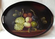 Gorgeous Large Vintage Wood Hand Painted Fruit Tray 19-1/2 L