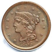 1856 N-18 Pcgs Ms 64 Rb Slanted 5 Braided Hair Large Cent Coin 1c