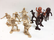 Vintage Plastic Marx 6 Cowboy And Indian Play Western Large Figures Toy Set Of 11