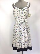 Milly Jessica Parrot Sleeveless Button Front Fit And Flare Summer Dress Sz.10