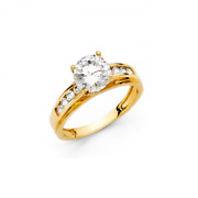 14k Yellow Gold 2.25ct Cz Round Cut Side Stone Engagement Ring Cubic Channel Set