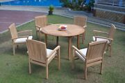 Dswv A-grade Teak 7pc Dining Set 52 Round Table 6 Stacking Arm Chair Outdoor