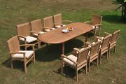 Dswv A-grade Teak 11pc Dining Set 94 Oval Table 10 Stacking Arm Chair Outdoor