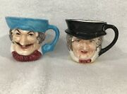 Lot Of 2 Vintage Ceramic Toby Mugs Made In Japan - 3 Inch - Hand Painted