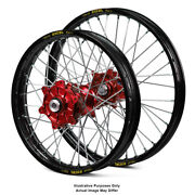 17 Front Rear Black/red Supermoto Wheels Fit Honda Africa Twin Crf1000l 2015