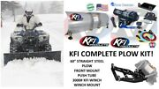Kfi Polaris And03912-and03918 Rzr 570 Plow Complete Kit 60 Steel Straight Blade 3000 Mid