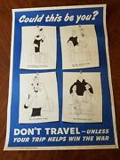 1945 Wwii Poster Donand039t Travel. Us Office Of Defense Transportation.