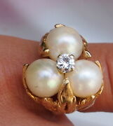 Pearl And Diamond 14 Kt Gold Ring -10.6 Grams Fine Vintage Details Sizable