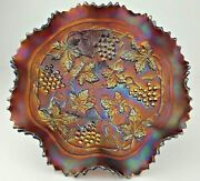 Northwood Carnival Glass Grape And Cable Variant Stippled Electric Amethyst Bowl