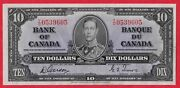 ✪ 1937 10 Bank Of Canada Note Gordon-towers T/d Prefix 0539605 - Au Cleaned