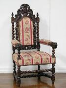 Large Antique French Renaissance Carved Arm Chair