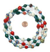 Christmas-style Mixed Recycled Paper Beads From Uganda 11mm African Multicolor