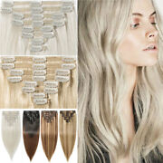 160g+ Thick Clip In Remy Human Hair Extension Full Head Double Weft Highlight Uk