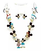 Zuni Handmade Sterling Silver Inlay Mickey Mouse Necklace Set - Andrea Lonjose
