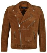 Brando Menand039s Real Leather Jackets Tan Suede Motorcycle Style 100 Leather Mbf