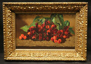 19th Or Early 20 Century Cherryand039s Still Life Painting Elaborated Gold Leaf Frame