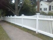 64' Of 4' High Pvc Vinyl Louisville Style Victorian Picket Fence Scallop Top