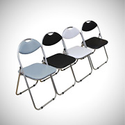 Chairs Studying Dining Office Event Chair Folding Padded Fauxleather Black White