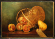 19th Century Peaches In Basket Impressive Still Life Painting Vintage Country