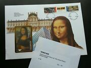 France Painting 1993 Mona Lisa Phonecard Stamp Fdc Gold Foil Unusual Rare