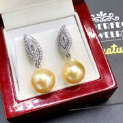 Golden 12mm South Sea Pearl Diamonds 18k Solid White Gold Earrings Natural Drop