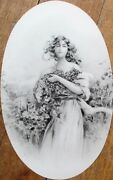 French 1900 Candy Box Tops/labels - 96 Pieces W/beautiful Woman And Grapes