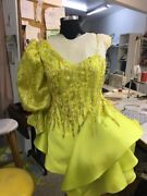 Haute Couture Custom Lime Green Sz 4 Cocktail Dress/gownandnbsp