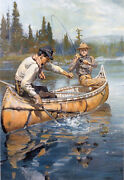 Northern Lake Fishing By Philip Goodwin Giclee Canvas Print Repro