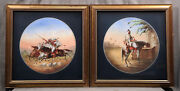 Pair Of 19th Century Austrian Porcelain Plaques Islamic Soldiers Gold Frame