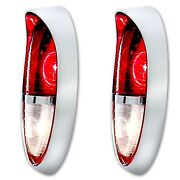 1954 Chevy Passenger Car Stock Clear Red Tail Back Up Light Lens Assembly Pair