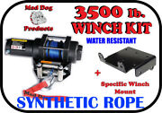 3500lb Mad Dog Synthetic Winch/mount Kit For 2004-09 Yamaha Bruin 350 2x4 And 4x4