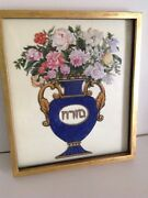 Antique Judaica 19th Italy Mizrah Hand Painted Glass Framed Gold Amulet M2032