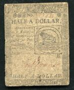 Cc-21 February 17 1776 1/2 One Half Dollar Continental Currency Note