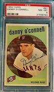 1959 Topps Baseball 87 Danny O'connell Psa 8 Perfectly Centered