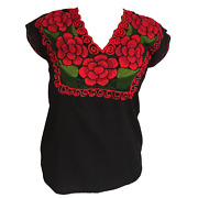 Floral Mexican Blouse Authentic Embroidered Black W Red Flowers Blusa Mexicana