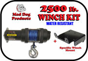 2500lb Mad Dog Synthetic Winch/mount Kit For 2002-2008 Yamaha Grizzly 660 4x4