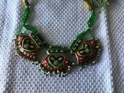Magnificent Vintage Reversible Enamel And Pearl Necklace On Cord. Asian