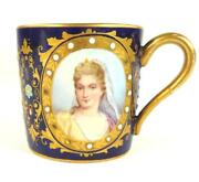 N696 Antique French Sevres Style Porcelain Cup Jeweled Cobalt Blue Portraits